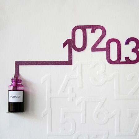 Spanish designer Oscar Diaz has designed a calendar that uses the capillary action of ink spreading across paper to display the date. Each month, a bottle of coloured ink spreads across a sheet of paper embossed with numbers, colouring them in as it goes. Ink Calendar will be exhibited at an exhibition called Sueños de