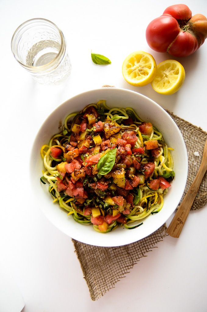 Heirloom Tomato, Basil and Balsamic Zucchini Noodles