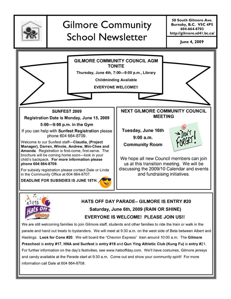8 best Newsletter Ideas images on Pinterest 2nd grades, Awards - school newsletter