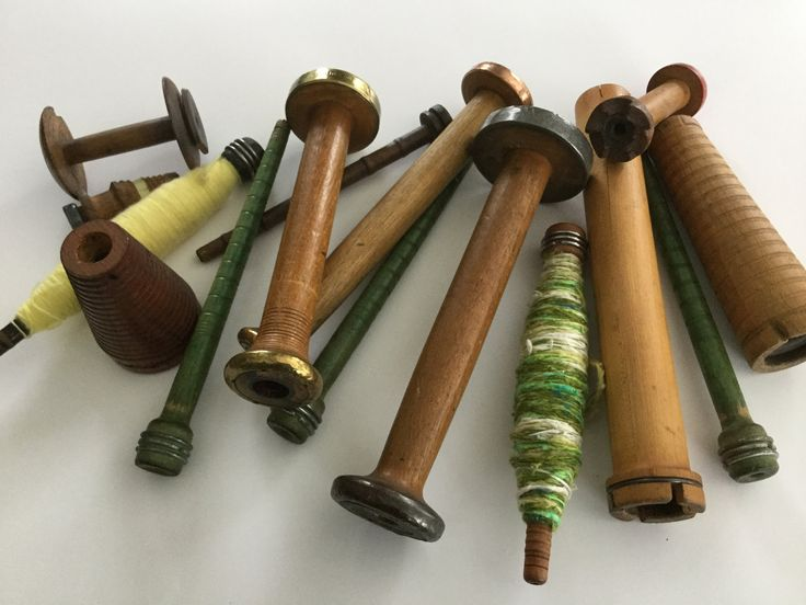 Antique vintage collection wood wooden thread yarn spools display by Hannahandhersisters on Etsy