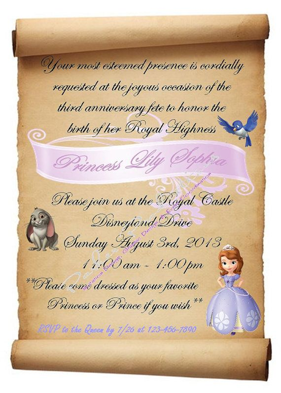 Sofia The First Birthday Invitation By ParkerProductions On Etsy 1000