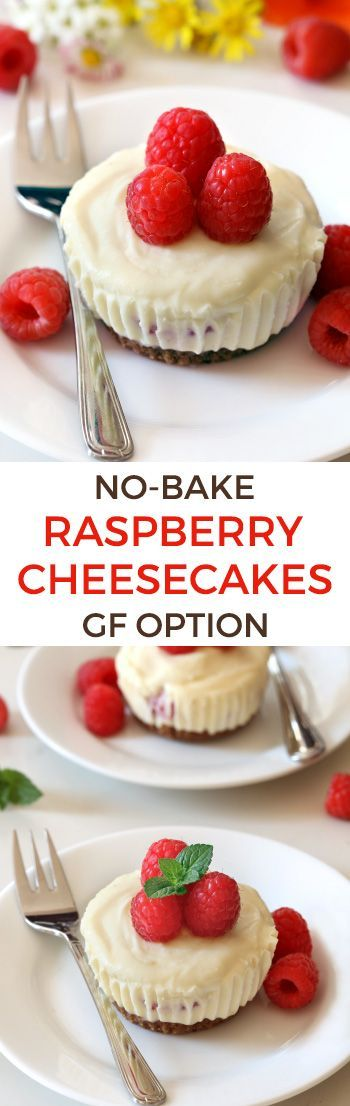 These no-bake mini raspberry cheesecakes feature a white chocolate cheesecake filling and a graham cracker crust. With traditional, grain-free, gluten-free, and whole grain options for the crust.