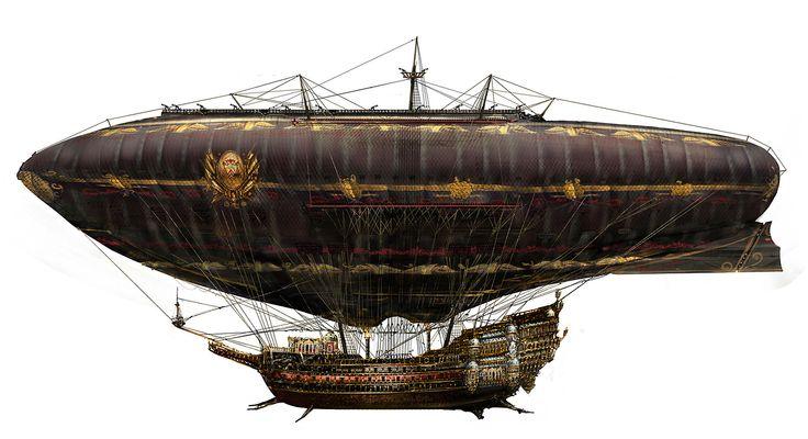 Steampunk Airship - U. Zeidler | via Steampunk Tendencies #airship #steampunk #steampunkart http://www.pinterest.com/TheHitman14/artwork-steampunked/