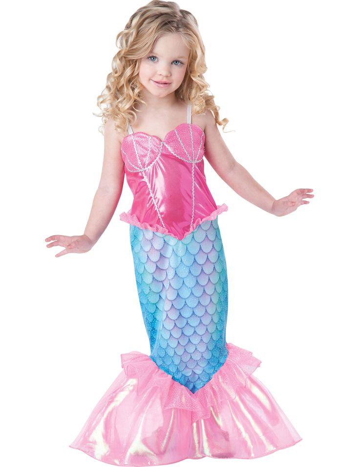 Disfraz Sirena para niña -Premium: Este disfraz de sirena para niña incluye vestido. La parte superior es rosa brillante con motivos del mar en el pecho. El bajo del vestido es la cola de sirena con escamas. Hay un velo...