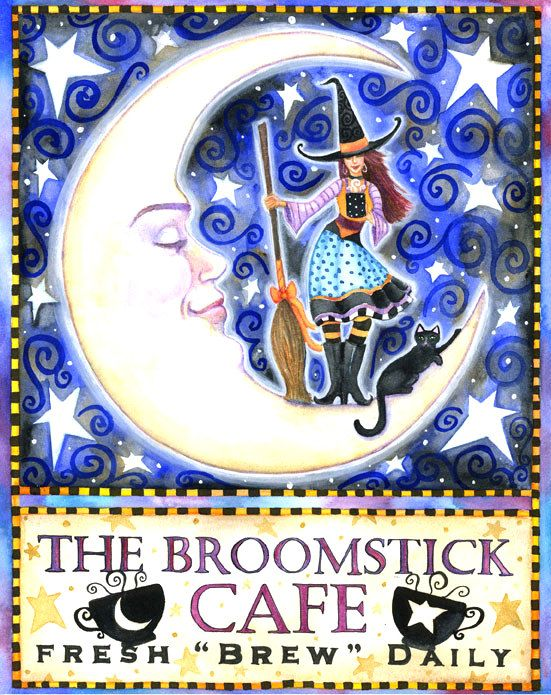 The Broomstick Cafe - 5.55 x 7 inch print - by Brenna White - witch black cat…
