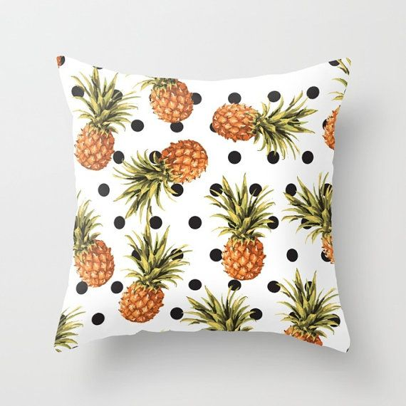 Pineapple and Polkadots Pillow Cover.  *Insert NOT included.  ABOUT THE PILLOW COVER:  - Size options: 18x18 inches or 20x14 inches.  - Fabric