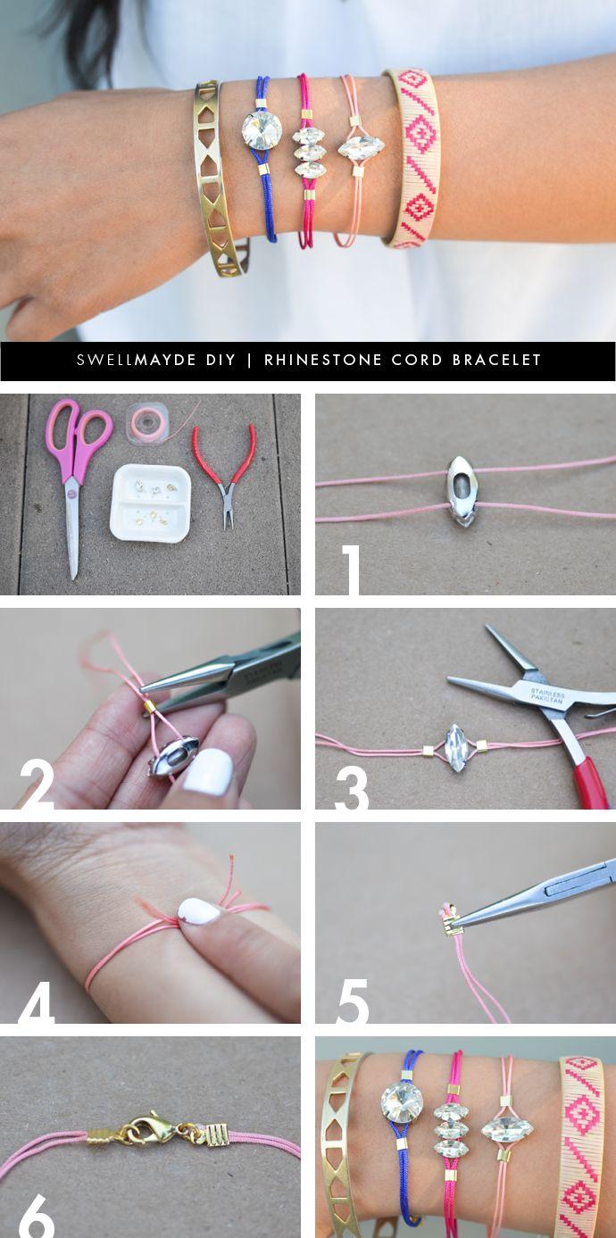 DIY Tutorial Bracelet Rhinestone Cord