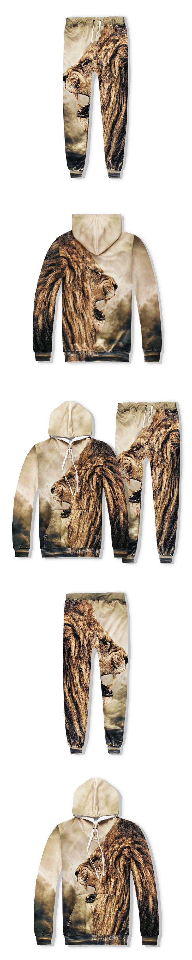 Mens 2017 Sets 3D Print Animal Lion Fashion Hip Hop Tracksuit Top+Pants Brand Clothing S-2XL