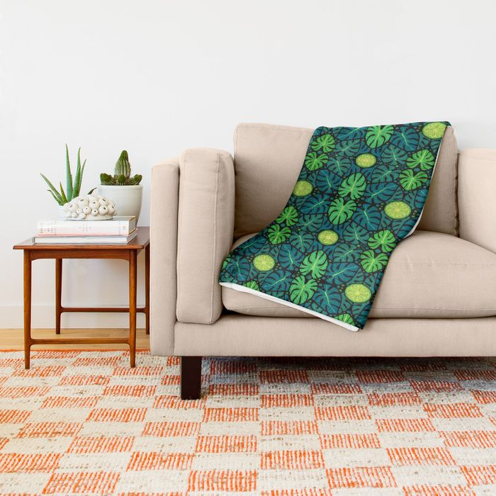 Monstera leaves, floral pattern, black, green & turquoise Throw Blanket