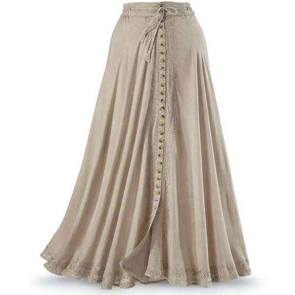 Button Front Maxi Skirt - Women's Romantic & Fantasy Inspired Fashions ($100) ❤ liked on Polyvore featuring skirts, steampunk skirt, brown maxi skirt, ankle length skirts, long skirts and long brown skirt