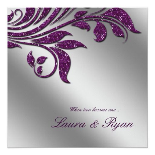 Custom Autumn Wedding Invite Sparkle Leaf Purple Silver Created By This  Invitation Design Is Available On Many Paper Types And Is Completely Custom  Printed.