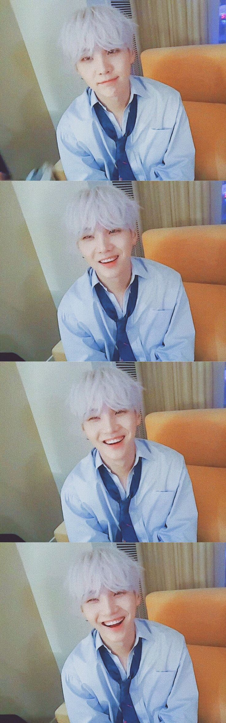 SUGA // BTS in AMAs // BTS live on the V App! He looks like an anime character here :3