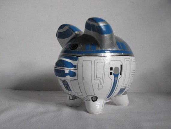 Personalized Piggy Bank Handpainted R2D2 Piggy Bank  White