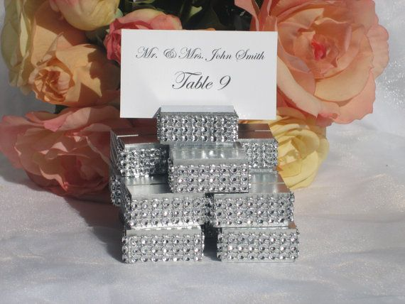 silver wood place card escort card holders trimmed with a bling crystal wrap at https wedding