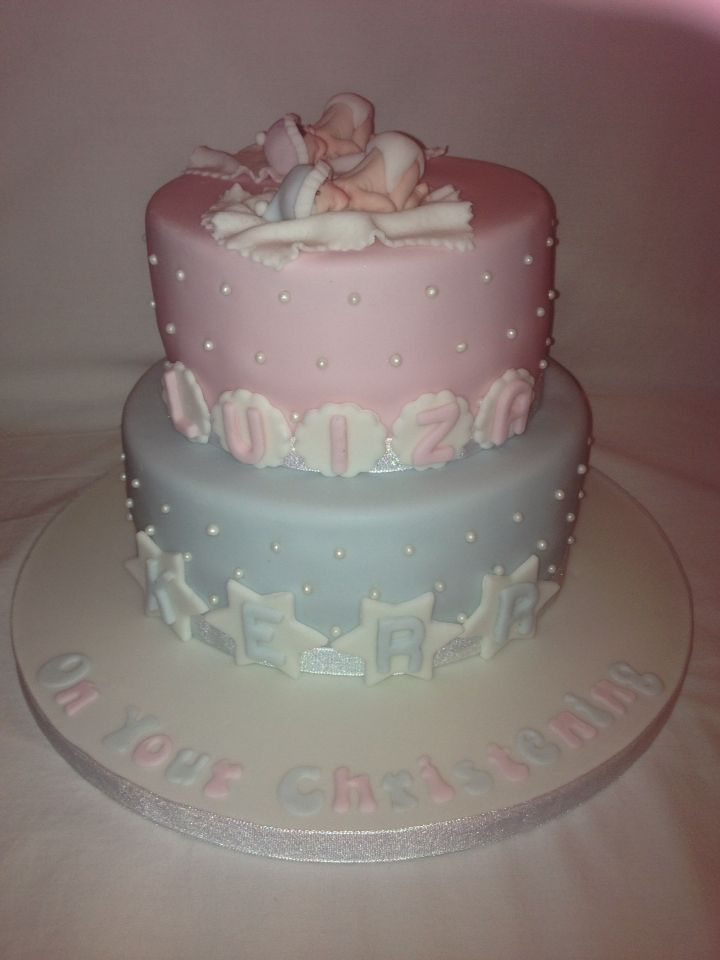 Cute christening cake for twins