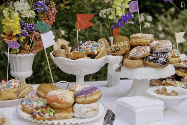 Donut bar with flags shot by Studio623Photography.comDonuts Bar, Desserts Ideas, S'Mores Bar, Desserts Bar, Candies Bar, Wedding Cake, Buffets Decor, Desserts Tables, Desserts Buffets