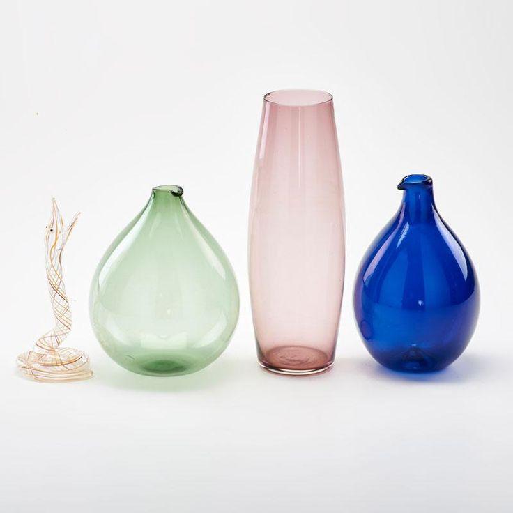 Timo Sarpaneva, IIttala, Bimini,  Four glass pieces: beeker-shaped cobalt vase and similar, ovoid amethyst vase, and coiled snake sculpture, Finland/Austria #DecorativeGlass