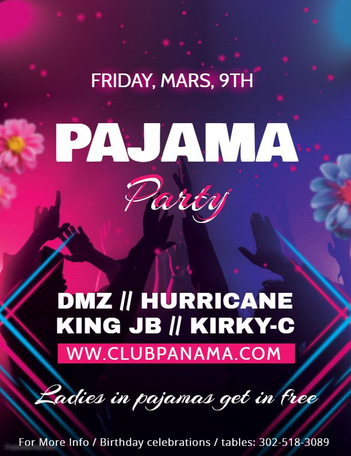 House dance party custom flyer design template Pajama Party Poster