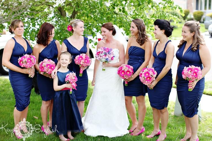 wedding colors - I kinda really like the navy blue/hot pink combo