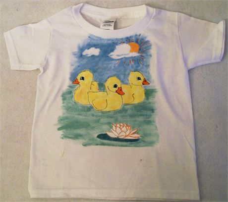 Girls Ducks on A Pond Hand Painted Tee Shirt, Gift for Girls, USA Made,   This is a girls hand painted tee shirt. The paints have been heat set.   This shirt features 3 ducks sitting on a pond with a water lily.   This shirt is a size 3T and is ready to ship   I can paint this one on a different size.   I can paint it on sizes 2T-3T-4T-5T-6T-6/8-10/12   Keep in mind that since these are hand painted each one may not be exactly alaike but it will be as close as I can make it.   You c...