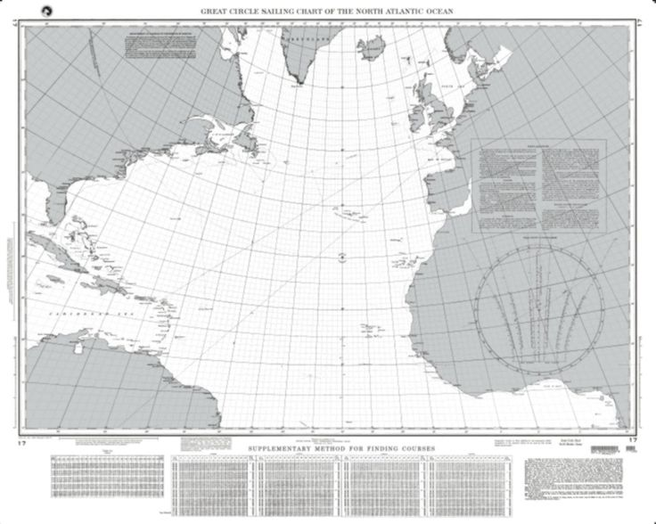 Great Circle Sailing Chart Of The North Atlantic Ocean (NGA-17-43) by National Geospatial-Intelligence Agency
