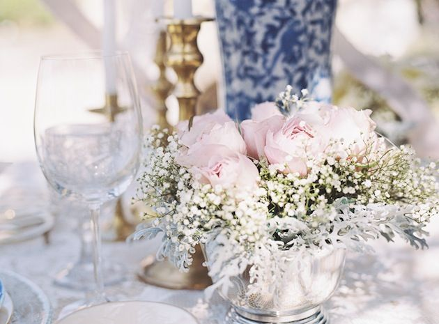 Rose & Baby's Breath Centerpiece Idea    Vintage Hollywood Glam Food Truck Wedding Inspiration | Bridal Musings http://food-trucks-for-sale.com/