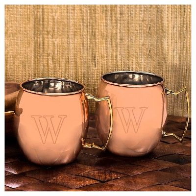 Cathy's Concepts 2pc Monogram Moscow Mule Copper Mugs Y, Brown