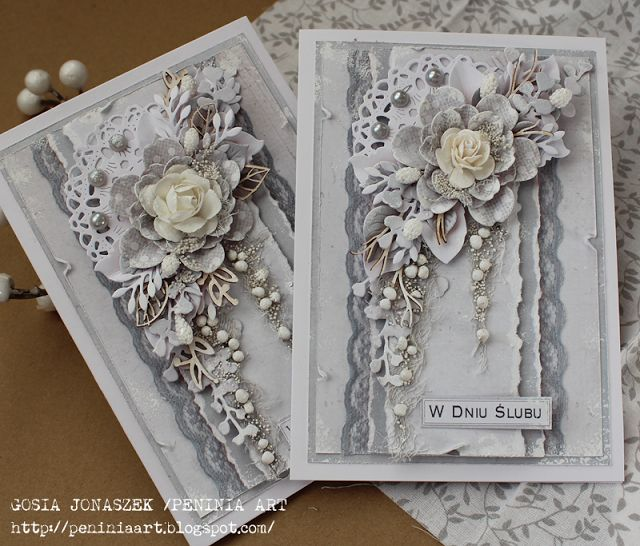 Card with flowers vintage shabby chic romantic silver white grey wedding anniversary