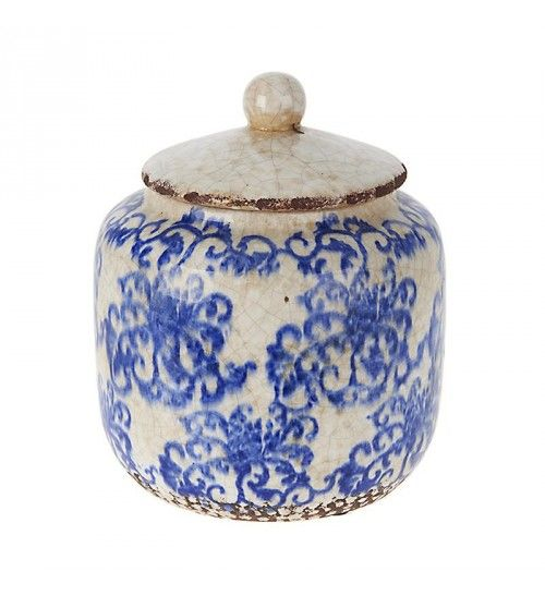CERAMIC VASE W_BLUE FLOWERS AND COVER 16Χ16Χ19