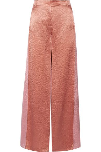 Valentino - Two-tone Hammered-satin Wide-leg Pants - Copper - IT4