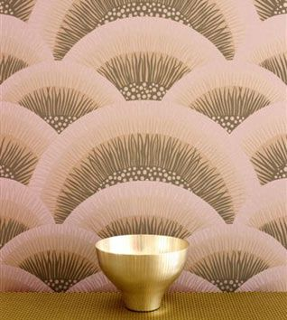 Shell hand printed wallpaper inspired by a classic Art Deco motif