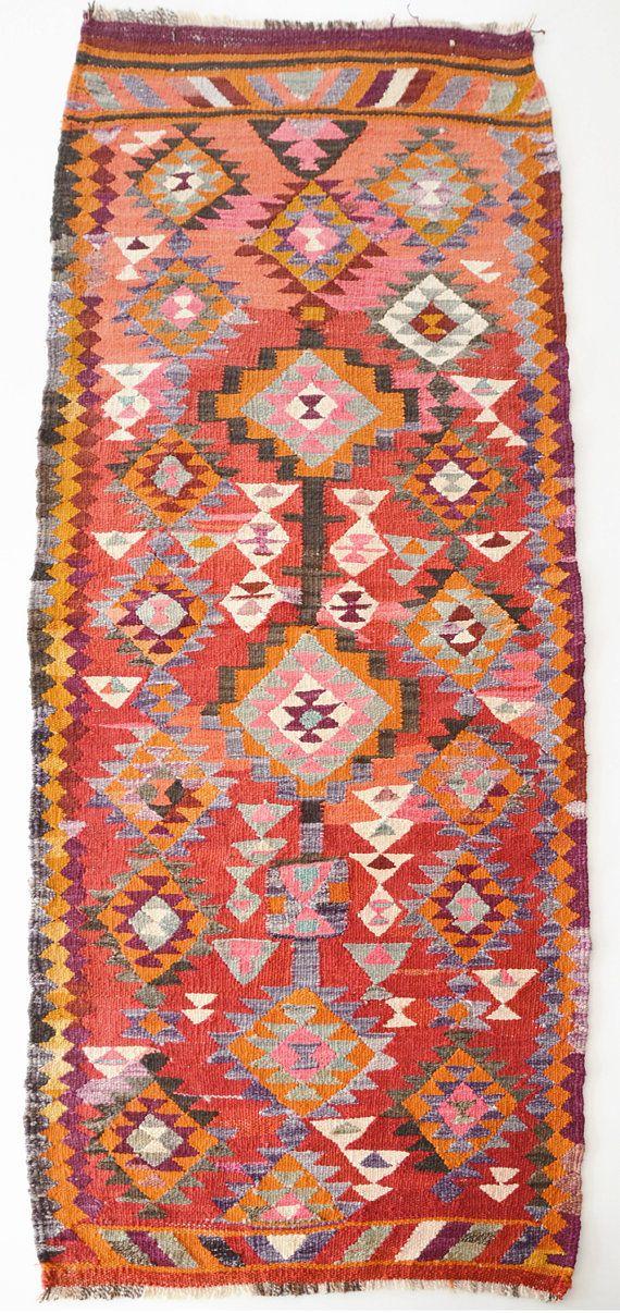 VINTAGE Turkish Kilim Rug Carpet-- love the color pallette, works well with dark gray