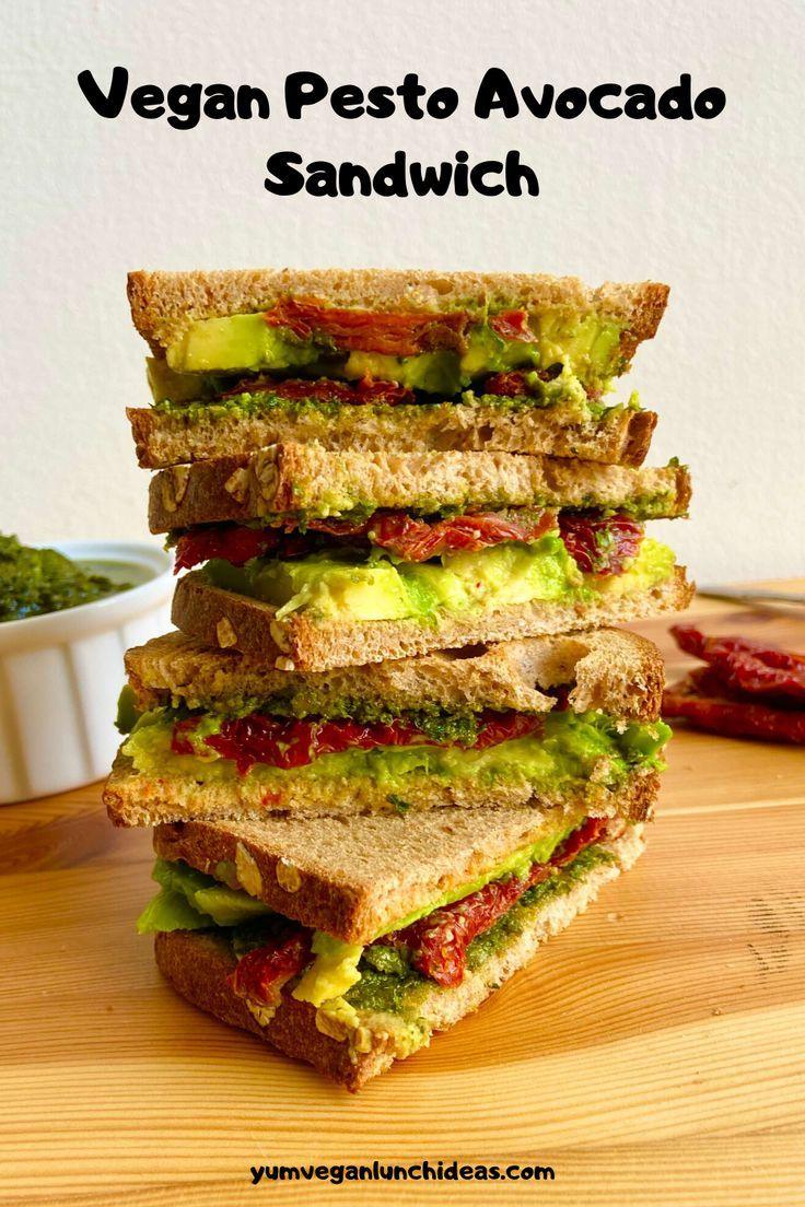 Vegan Avocado Sandwich With Pesto And Sun Dried Tomatoes Recipe In 2020 Vegan Avocado Recipes Avocado Sandwich Avocado Sandwich Recipes