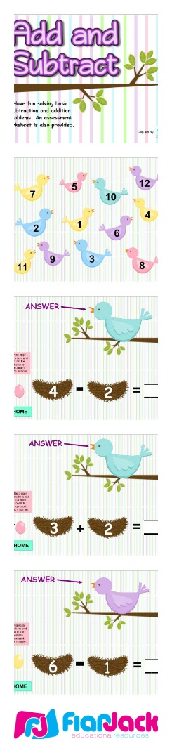 """($) Add and Subtract Birdies SMART BOARD Game - In this Smart Board game, students use eggs and nests to help illustrate and solve simple addition and subtraction problems. This game is kindergarten common core based and includes a download for a printable assessment worksheet that contains the standard(s) covered and an """"I Can"""" statement."""