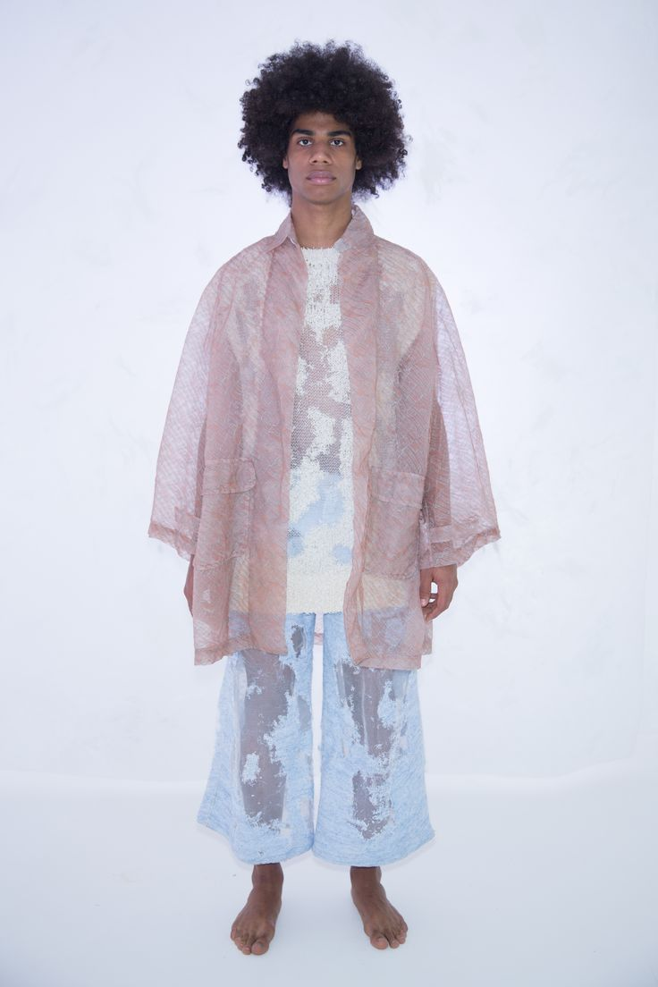 KA WA KEY Spring Summer 2017 London Collections: MEN Experimental sensuous romantic textile on Menswear / Womenswear / Knitwear as an east-meet-west impressionism painting   Lace Coat  Devore Knit Tank Top  Devore Knit Jeans