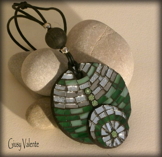 Mosaic to wear  Lawn Pendant by GiusyValente on Etsy