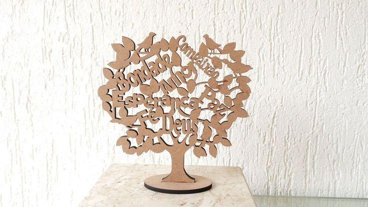 Árvore da Vida Com Palavras de Carinho e Amor 20cm Altura