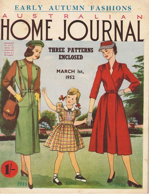 Australian Home Journal March 1952 vintage magazine sewing knitting patterns paper pattern----wall art