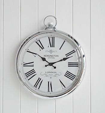 Silver Polished Wall Clock   White Cottage Living Furniture And Accessories  For The Hallway, Living, Bathroom And Bedroom