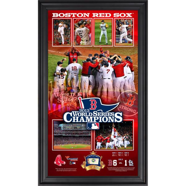 """Boston Red Sox Fanatics Authentic Framed 10"""" x 18"""" 2013 MLB World Series Champions Collage with Game-Used Baseball"""
