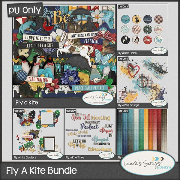 Fly a Kite Digital Scrapbook Bundle! This kit is perfect to let your imagination take you on an adventure, Disney or Mary Poppins Layouts!
