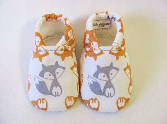 Grey and Orange Fox Baby Boy Shoes by TheWeeLittlePiggies on Etsy