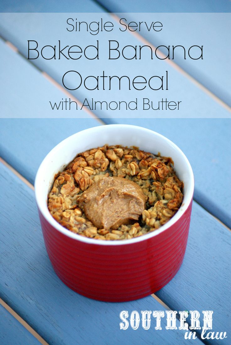 Vegan Baked Banana Oatmeal with Almond Butter - Breakfast for one that can be made ahead for busy mornings or is perfect for those mornings when you have time to relax. Gluten free, vegan, clean eating friendly, sugar free and low fat.