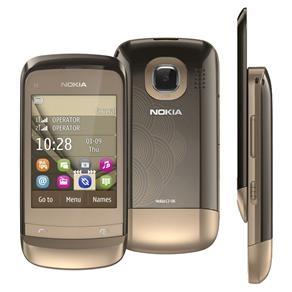 Celular Desbloqueado Nokia C2-06 Dourado Dual Chip com Câmera 2MP, Touch Screen, Rádio FM, MP3, Bluetooth, Fone de Ouvido e Cartão 2GB