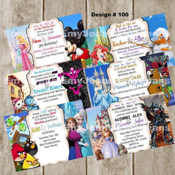 Double Party Invitation,Combo birthday party,Boy Girl Twins,Siblings,Disney,Superhero,Avengers,Princesses,TMNT,Planes,Cars,Robots,Avengers
