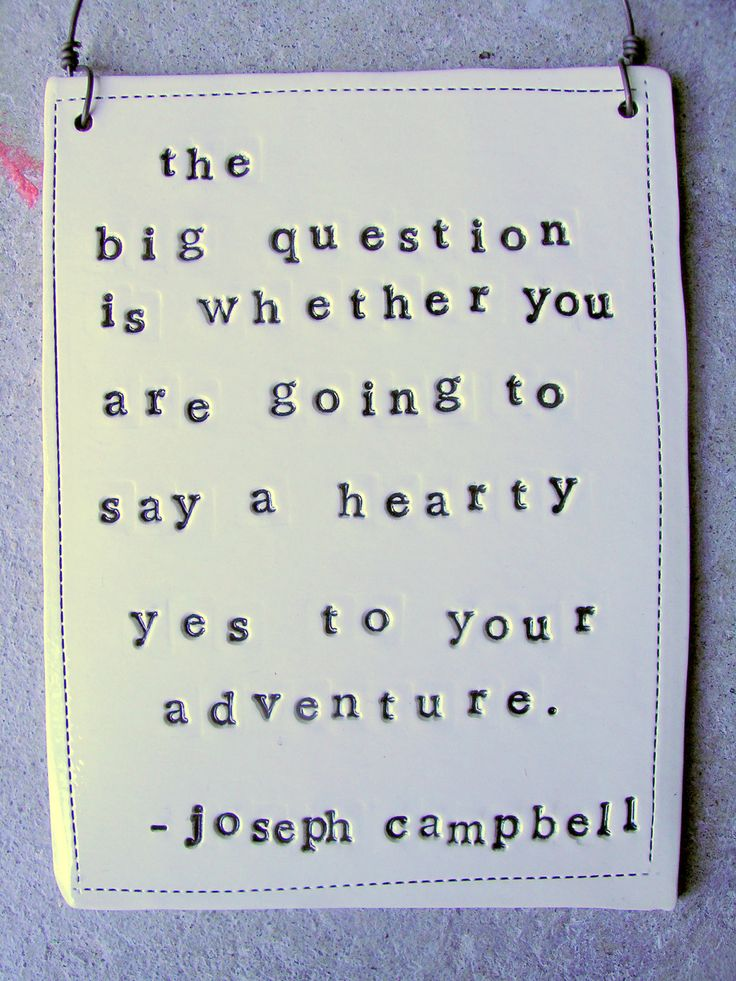 The big question is whether you are going to say a hearty yes to your adventure. ~Joseph Campbell: Adventure, Life, Quotes, Wisdom, Big Question, Joseph Campbell, Things, Travel