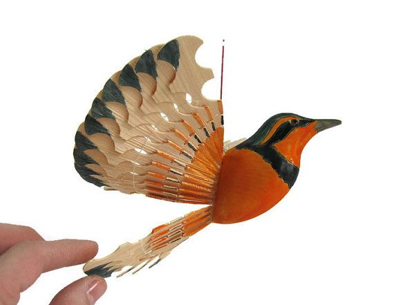 Wooden Bird Fan Carving Mobile  Varied Thrush House by MyFanbirds