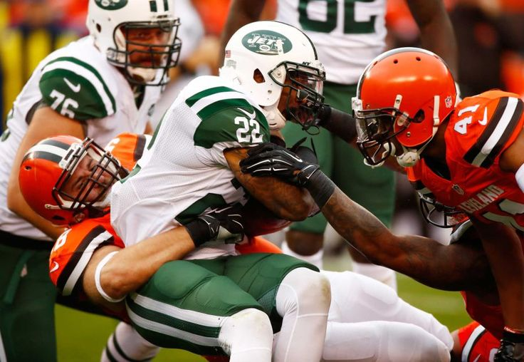 Jets vs. Browns:  October 30, 2016  -  31-28, Jets  - Matt Forte of the New York Jets gets tackled by Jamie Meder and Tracy Howard of the Cleveland Browns during the first quarter at FirstEnergy Stadium on Oct. 30, 2016 in Cleveland.