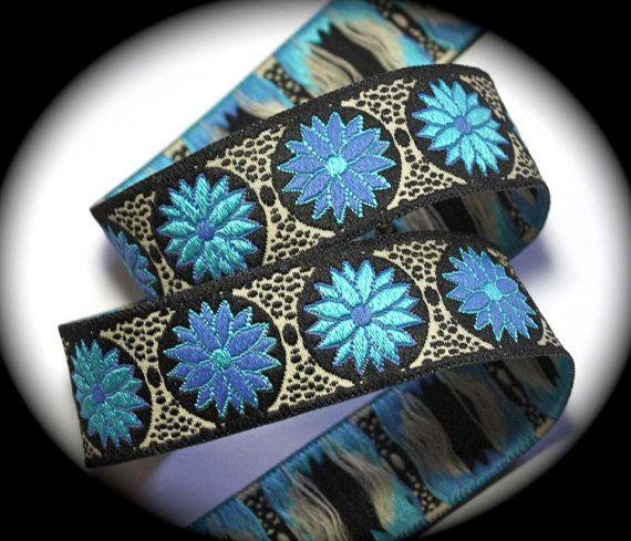 "Woven Jacquard Ribbon - Daisy Dot Flower 1"" x 3 yds Black/Turquoise/Periwinkle DF13"