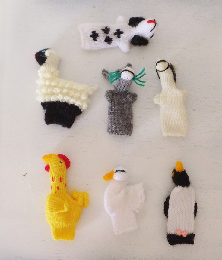 Set of Knitted Animal Finger Puppets Storytelling Gift for Children Chicken Horse Dog Penguin Rooster Donkey Swan Bird Sheep Puppet Toy by BlendedSplendid on Etsy